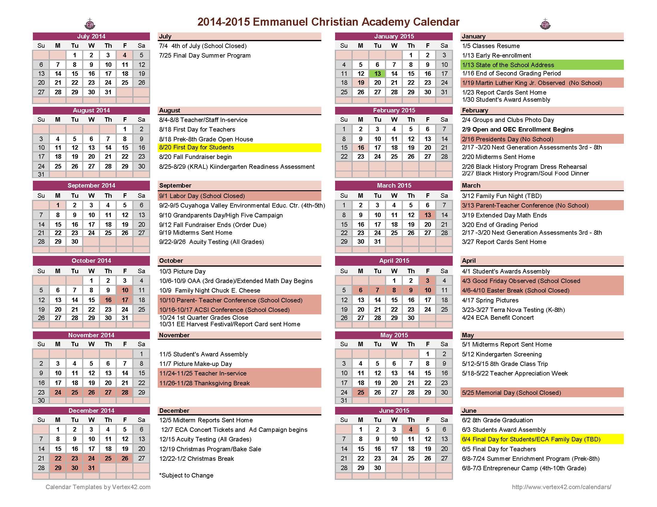 School Event Calendar Current School Year Calendar