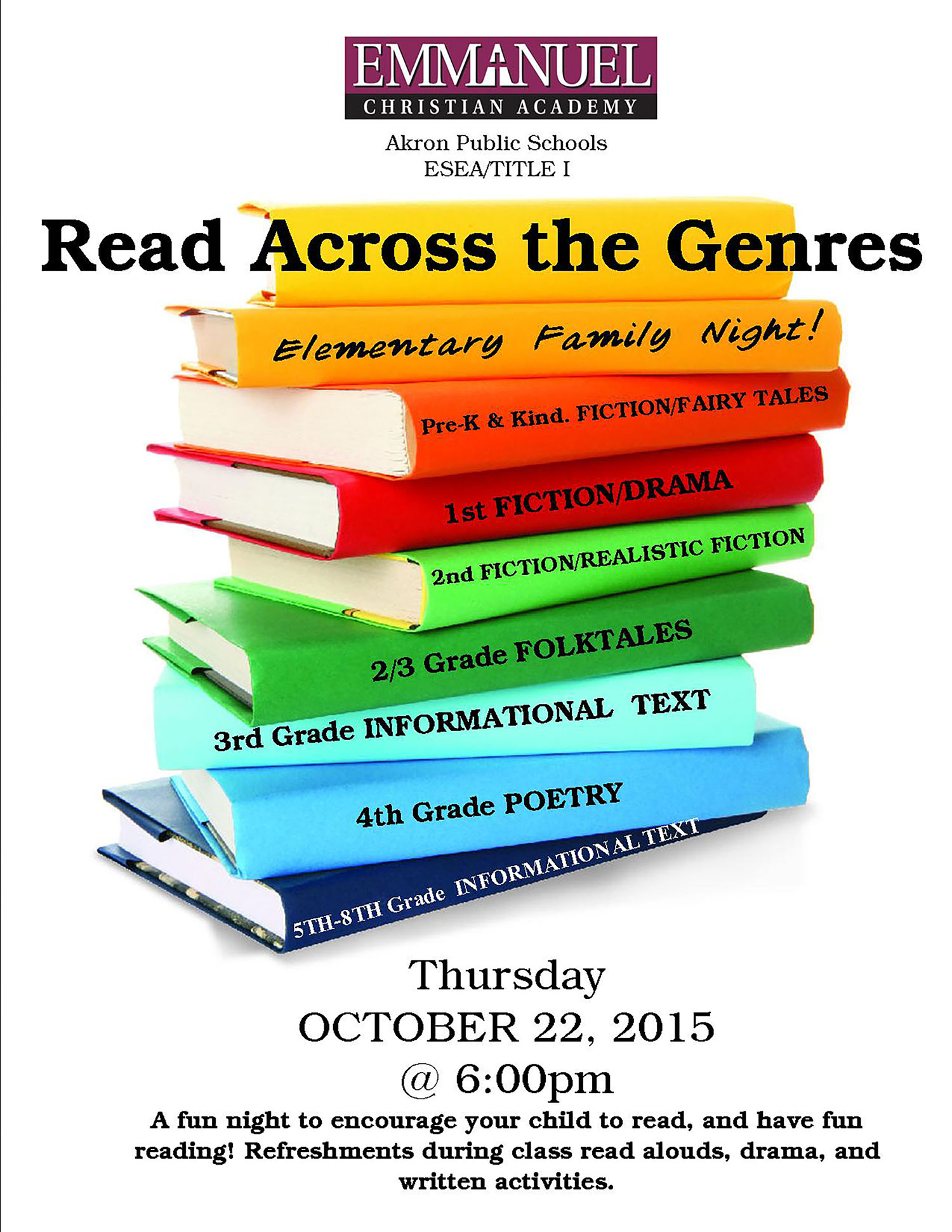 Reading Across the Genres @ Emmanuel Christian Academy